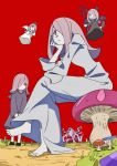1girl angel angel_and_devil angel_wings arai_hiroki barefoot chin_rest demon demon_wings dress floating hair_over_one_eye half-closed_eyes halo highres horns little_witch_academia long_hair monster multiple_persona mushroom nightgown pale_skin path pink_hair pitchfork red_background road sharp_teeth simple_background sitting smile sucy_manbavaran teeth wings