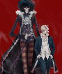 >:( 2boys afro black_hair blonde_hair brook cane cigarette coat collarbone collared_shirt cowboy_shot facial_hair formal fur_trim hair_over_one_eye hands_in_pockets hat height_difference highres holding long_sleeves looking_at_viewer male_focus multiple_boys one_piece open_clothes open_coat pants red_background sanji shirt short_hair simple_background skeleton skull smoke smoking striped striped_pants sunglasses walking wind wing_collar yuu_(1969loy)