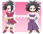 >:) >:| 2girls :| ? arm_at_side armband arms_at_sides bare_shoulders belt big_hair bike_shorts blush body_blush bracer breasts brown_belt brown_legwear brown_shoes caulifla chibi cleavage closed_mouth collarbone crop_top dragon_ball dragon_ball_super earrings empty_eyes eyebrows eyelashes facing_viewer floating_hair fujioka-san full_body grin groin hair_intakes hand_on_hip hands_on_hips high_ponytail highres hoop_earrings jewelry kale_(dragon_ball) legs_apart lips long_hair looking_at_viewer medium_breasts miniskirt multiple_girls navel no_pupils pants polka_dot polka_dot_background purple_pants red_shirt red_skirt shirt shoes short_sleeves shorts_under_skirt silhouette simple_background single_hair_intake skirt smile socks spiky_hair strapless teeth tubetop white_background