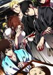 3boys 3girls annie_leonhardt arm_up armin_arlert black_hair black_kimono blonde_hair brown_hair collarbone cup dtuch_angle eren_yeager erwin_smith glasses grey_hair hair_between_eyes hange_zoe holding index_finger_raised japanese_clothes kimono laughing leaning_forward levi_(shingeki_no_kyojin) mikasa_ackerman multiple_boys multiple_girls open_mouth outdoors red_scarf reiner_braun sakazuki scarf shingeki_no_kyojin short_hair sweat very_short_hair yellow_eyes yuna_(rutera)