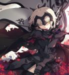 1girl ;) ahoge armor bangs black_dress black_legwear blurry depth_of_field dress eyebrows_visible_through_hair fate/grand_order fate_(series) flower gauntlets grey_hair headpiece holding holding_flag holding_sword holding_weapon jeanne_alter licking licking_weapon looking_at_viewer ogipote one_eye_closed parted_lips petals poinsettia red_flower ruler_(fate/apocrypha) smile solo standard_bearer sword thigh-highs weapon yellow_eyes