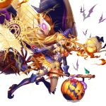1girl bat black_legwear blonde_hair blue_eyes boots bow breasts broom broom_riding cape commentary_request elbow_gloves fishnet_legwear fishnets full_body garter_straps ghost gloves halloween hat holding jack-o'-lantern kami_project long_hair magic medium_breasts official_art one_eye_closed open_mouth panties pumpkin see-through sideboob simple_background sleeveless sparkle thigh-highs thigh_boots underwear very_long_hair wand wings witch witch_hat