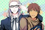 1boy adjusting_glasses aijima_cecil beret black_glasses blonde_hair blue_eyes blush brown_hair brown_scarf brown_shirt buttons camus_(uta_no_prince-sama) collar collared_shirt dark_skin eyebrows eyebrows_visible_through_hair glasses green_background green_eyes hat hat_removed headwear_removed hiiroichi jacket looking_at_viewer male_focus open_mouth parted_lips purple_background ribbon scarf shirt short_hair simple_background smile star starry_background striped striped_ribbon teeth upper_body upper_teeth uta_no_prince-sama white_shirt