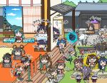 6+girls architecture blue_eyes blue_hair brown_hair east_asian_architecture frankenstein's_castle fukashi_(oshiro_project) goggles green_eyes hachimaki hat hat_removed headband headwear_removed heavy_breathing iga_ueno_(oshiro_project) ishiyama_obou_(oshiro_project) iwabitsu_(oshiro_project) kinoshita_haruka komoro_(oshiro_project) long_hair matsumoto_(oshiro_project) mihara_(oshiro_project) monkey_tail multiple_girls nagahama_(oshiro_project) neko_atsume odawara_(oshiro_project) osaka_(oshiro_project) oshiro_project oshiro_project_re otaki_(oshiro_project) parody ponytail purple_hair senko_(oshiro_project) sitting tail takiyama_(oshiro_project) torii toyama_(oshiro_project) tsuruga_(oshiro_project) twintails yamashina_honganji_(oshiro_project) yosaka_(oshiro_project) zoga_(oshiro_project)