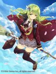 1girl animal animal_on_shoulder bag black_legwear blazer breasts broom broom_riding brown_shoes cait cape cat cat_on_shoulder clouds cloudy_sky commentary_request feathers flying frilled_skirt frills full_body green_eyes green_hair grey_skirt gyakushuu_no_fantasica hair_ornament holding holding_broom jacket long_hair looking_at_viewer medium_breasts official_art one_eye_closed original outdoors petals red_blazer red_cape shiny shiny_hair shoes sitting skirt sky smile solo thigh-highs watermark wind wind_lift zettai_ryouiki