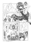 >_< 6+girls braid chibi closed_eyes comic crying dress feathers flower_knight_girl greyscale highres kadose_ara katabami_(flower_knight_girl) monochrome multiple_girls multiple_persona sailor_collar smile smug standing_on_person tears twin_braids viola_(flower_knight_girl) wrapped_up
