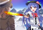 2girls above_clouds black_hat blue_hair blush bow coat day e.o. eyebrows_visible_through_hair facing_another food from_behind fruit hat hinanawi_tenshi holding holding_sword holding_weapon long_hair looking_at_another mountain multiple_girls open_mouth outdoors peach puffy_short_sleeves puffy_sleeves red_bow red_eyes red_ribbon ribbon short_sleeves sword sword_of_hisou teeth touhou usami_renko weapon white_ribbon
