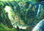 2015 arch bridge canyon chimney city cityscape fantasy flag fog forest from_above gears kemi_neko nature no_humans original revision scenery signature stairs sunlight tree water water_tower waterfall watermill