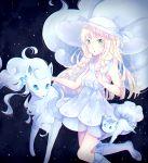 1girl :o alola_form alolan_ninetales alolan_vulpix artist_name bangs bare_arms bare_shoulders blonde_hair blue_ribbon blue_shoes blunt_bangs braid breasts collarbone collared_dress dress green_eyes hat hat_ribbon highres kneehighs lacieon lillie_(pokemon) long_hair looking_at_viewer night night_sky open_mouth pokemon pokemon_(anime) pokemon_(creature) pokemon_sm_(anime) ribbon see-through shoes sky sleeveless sleeveless_dress small_breasts standing standing_on_one_leg star_(sky) starry_sky sun_hat sundress twin_braids white_dress white_hat white_legwear