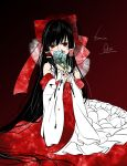 1girl absurdly_long_hair black_hair blood blood_on_face bow bridal_gauntlets cuts detached_sleeves dress embellished_costume empty_eyes flower hair_bow hair_ribbon hair_tubes hakurei_reimu highres injury large_bow long_hair looking_at_viewer red_eyes ribbon solo souta_(karasu_no_ouchi) steepled_fingers touhou very_long_hair