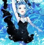 1girl air_bubble arm_up black_dress black_ribbon blue blue_eyes blue_hair breasts bubble cleavage collarbone cowboy_shot dress float floating_hair hair_ribbon hatsune_miku kamari_(kama_ri) long_hair looking_up open_mouth ribbon shinkai_shoujo_(vocaloid) short_dress sleeveless sleeveless_dress small_breasts solo spaghetti_strap submerged underwater very_long_hair vocaloid