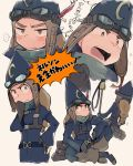 1girl aimai_(luckyfive) braid broom brown_eyes gloves goggles goggles_on_head hat_feather little_witch_academia missing_tooth multiple_views nelson_(little_witch_academia) sitting tareme