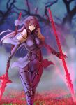1girl covered_navel dual_wielding fate/grand_order fate_(series) flower lance long_hair looking_at_viewer parted_lips polearm purple_hair red_eyes scathach_(fate/grand_order) solo spaulders standing tree weapon wide_hips