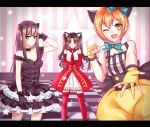 3girls animal_ears black_dress black_gloves black_gothic_dress_(idolmaster) black_hair blush cat_ears checkered checkered_floor choker commentary crossed_arms crossover dress elbow_gloves fate/hollow_ataraxia fate/stay_night fate_(series) fingerless_gloves frills gloves green_eyes hand_in_hair hoshizora_rin idolmaster idolmaster_cinderella_girls kaleido_ruby letterboxed long_hair looking_at_viewer love_live! love_live!_school_idol_festival love_live!_school_idol_project meaomao multiple_girls namesake one_eye_closed orange_hair outstretched_hand paw_pose puffy_shorts red_dress red_gloves red_legwear ribbon_choker shibuya_rin shorts smile star striped striped_background thigh-highs tohsaka_rin two_side_up vertical_stripes yellow_eyes