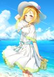 1girl absurdres birthday blonde_hair braid breasts clouds cloudy_sky crown_braid hachinatsu hair_rings happy_birthday hat highres jewelry love_live! love_live!_sunshine!! medium_breasts medium_hair necklace ohara_mari sandals_removed seaside sky yellow_eyes