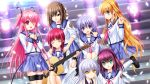 6+girls :d ;d angel angel_beats! blonde_hair blue_eyes blue_hair blue_skirt brown_hair closed_eyes collarbone eyebrows_visible_through_hair eyes_visible_through_hair fang feathered_wings green_eyes guitar hair_between_eyes hair_over_one_eye hair_ribbon hairband hands_on_another's_shoulders highres hisako hisako_(angel_beats!) holding_instrument instrument irie_(angel_beats!) iwasawa key leaning_forward long_hair looking_at_viewer miniskirt multiple_girls na-ga navel neckerchief official_art one_eye_closed one_leg_raised open_mouth pink_hair pink_neckerchief pinkh_air pleated_skirt purple_hair purple_hairband purple_ribbon redhead ribbon school_uniform sekine serafuku shirt short_hair_with_long_locks sidelocks silver_hair sitting skirt smile spotlight stairs standing tenshi_(angel_beats!) thigh_strap two_side_up very_long_hair violet_eyes white_legwear white_shirt white_wings wings wrist_cuffs yellow_eyes yui_(angel_beats!) yuri_(angel_beats!) yurippe
