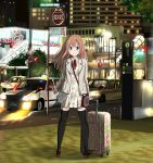 1girl bag black_legwear blazer blue_eyes blush building car city ground_vehicle handbag highres jacket long_hair long_sleeves looking_at_viewer luggage motor_vehicle night original outdoors plant ragho_no_erika revision smile solo standing suitcase thigh-highs tree v vehicle zettai_ryouiki