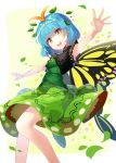 1girl :d absurdres antennae bangs blue_hair breasts butterfly_wings closed_mouth commentary_request cowboy_shot dress etarnity_larva eyebrows_visible_through_hair fingernails green_dress hair_between_eyes hair_ornament hands_up head_tilt highres leaf_hair_ornament leg_up looking_at_viewer one_leg_raised open_mouth outstretched_arms patterned_clothing petals print_dress rin_falcon short_hair skirt skirt_set sleeveless sleeveless_dress smile solo standing standing_on_one_leg touhou turtleneck upper_teeth wings yellow_eyes