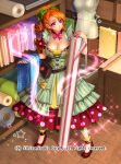 1girl apron belt bow breasts character_request cleavage company_name curly_hair dress full_body gyakushuu_no_fantasica high_heels large_breasts long_hair official_art orange_hair pink_eyes ponytail ryuki@maguro-ex solo sparkle star