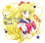 1girl aino_minako bishoujo_senshi_sailor_moon blonde_hair blue_eyes blue_sailor_collar bow brooch character_name crescent dated earrings facial_mark forehead_mark gloves hair_bow half_updo happy_birthday heart jewelry long_hair looking_at_viewer magical_girl mask mask_removed parted_lips pink_bow red_bow sailor_v sarashina_kau signature solo star upper_body white_background white_choker white_gloves