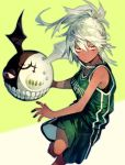 1girl barefoot basketball basketball_uniform breasts dark_skin expressionless guilty_gear guilty_gear_xrd long_hair looking_at_viewer medium_breasts orange_eyes playing_sports ponytail ramlethal_valentine running short_shorts shorts solo sport sportswear suzunashi teeth two-tone_background white_hair