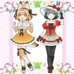2girls :d :o adapted_costume animal_ears bare_shoulders black_gloves black_hair black_legwear blonde_hair bow bowtie clenched_hands commentary elbow_gloves eyebrows_visible_through_hair fang frilled_skirt frills full_body gloves green_eyes hand_on_headwear hat hat_bow hat_feather headdress high-waist_skirt kaban_(kemono_friends) kemono_friends looking_at_viewer multiple_girls open_mouth otomelyric pantyhose plaid plaid_skirt polka_dot polka_dot_gloves polka_dot_legwear polka_dot_skirt puffy_short_sleeves puffy_sleeves red_shirt ribbon serval_(kemono_friends) serval_ears serval_tail shirt shoe_bow shoes short_hair short_sleeves skirt sleeveless sleeveless_shirt smile tail thigh-highs unmoving_pattern yellow_eyes yellow_gloves yellow_legwear yellow_skirt