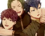 3boys akke black_hair blue_eyes blue_hair closed_eyes fire_emblem fire_emblem_echoes:_mou_hitori_no_eiyuuou fire_emblem_gaiden force_(fire_emblem) green_eyes green_hair hug hug_from_behind looking_at_viewer lukas_(fire_emblem) male_focus multicolored_hair multiple_boys open_mouth paison portrait red_eyes redhead simple_background smile teeth two-tone_hair white_background
