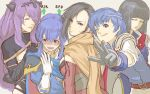 1boy 4girls armor belt black_eyes black_hair blue_eyes blue_hair blush breasts brown_eyes camilla_(fire_emblem_if) cape celice_(fire_emblem) circlet closed_eyes embarrassed fire_emblem fire_emblem:_fuuin_no_tsurugi fire_emblem:_seisen_no_keifu fire_emblem:_thracia_776 fire_emblem_heroes fire_emblem_if foreshortening gameplay_mechanics gauntlets girl_sandwich gloves grey_background grin hair_over_one_eye horn_ornament hug hug_from_behind kagerou_(fire_emblem_if) long_hair looking_at_viewer looking_back multiple_girls ninja nonji_(sayglo_halo) olwen_(fire_emblem) one_eye_closed open_mouth purple_hair robe sandwiched scarf short_hair sigh smile sweatdrop thany upper_body vest