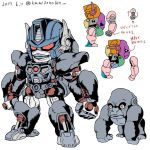 1boy 90s beast_wars dated directional_arrow glowing gorilla hands kamizono_(spookyhouse) machine machinery maximal mecha multicolored no_humans oldschool optimus_primal personification red_eyes robot simple_background solo transformers translation_request twitter_username white_background