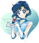 2girls bishoujo_senshi_sailor_moon blue_bow blue_choker blue_eyes blue_hair blue_sailor_collar blue_skirt bow brooch character_name chibi circlet closed_mouth dated dual_persona earrings elbow_gloves gloves happy_birthday jewelry juuban_middle_school_uniform looking_at_viewer magical_girl mizuno_ami multiple_girls pleated_skirt red_bow sailor_mercury sarashina_kau school_uniform serafuku short_hair skirt smile socks white_gloves