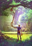 1boy bodysuit boku_no_hero_academia brown_eyes food fruit grass helmet highres leaf male_focus mask nature nishiya_shinji plant rock shibakawa_karasu solo sparkle squirrel tree vines water