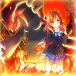 1girl bassa blazer blue_skirt eyebrows_visible_through_hair fire groudon highres holding holding_poke_ball jacket looking_at_viewer love_live! love_live!_school_idol_project nishikino_maki plaid plaid_skirt poke_ball pokemon pokemon_(creature) pokemon_(game) pokemon_oras primal_groudon redhead revision school_uniform short_hair skirt violet_eyes
