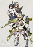 3girls assault_rifle battle_rifle bike_shorts black_hair boots breasts brown_hair cross glasses ground_vehicle gun highres howa_type_64 kamotama large_breasts long_hair military military_uniform military_vehicle motor_vehicle multiple_girls pleated_skirt rick_g_earth rifle sabae_shizuka school_uniform sendai_tomoka short_sleeves simple_background skirt tank twitter_username type_10_(tank) uniform weapon