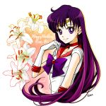 1girl bishoujo_senshi_sailor_moon bow character_name circlet closed_mouth earrings flower gloves happy_birthday hino_rei jewelry lily_(flower) long_hair looking_at_viewer magical_girl purple_bow purple_hair red_choker red_sailor_collar sailor_mars sarashina_kau signature smile solo star star_earrings upper_body violet_eyes white_gloves