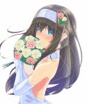 1girl alternate_costume bare_shoulders black_hair blue_eyes blush bouquet breasts bridal_veil commentary_request covering_mouth dress elbow_gloves flower gloves hairband highres hujikok idolmaster idolmaster_cinderella_girls large_breasts long_hair looking_at_viewer open-back_dress sagisawa_fumika sideboob simple_background solo upper_body veil wedding_dress white_background