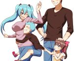 2boys 2girls aqua_eyes aqua_hair arm_up blush brown_hair denim fang finger_to_mouth grin hair_ornament hairclip hand_on_hip hatsune_miku highres jeans long_hair multiple_boys multiple_girls one_eye_closed open_mouth pants risian shirt_tug simple_background smile twintails vocaloid white_background