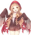 1girl commentary_request cosplay highres hood ichihara_nina idolmaster idolmaster_cinderella_girls little_red_riding_hood little_red_riding_hood_(cosplay) long_hair looking_at_viewer manatsuki_manata open_mouth sleeves_past_wrists solo white_background
