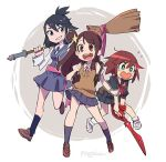 3girls artist_name backpack bag black_hair blue_eyes blush broom brown_hair company_connection cosplay costume_switch flying_sweatdrops gloves hair_ornament holding holding_broom kagari_atsuko kagari_atsuko_(cosplay) kill_la_kill little_witch_academia long_hair looking_at_viewer luluco luluco_(cosplay) mago matoi_ryuuko matoi_ryuuko_(cosplay) multicolored_hair multiple_girls open_mouth school_uniform scissor_blade senketsu serafuku short_hair skirt smile star star_hair_ornament streaked_hair trigger_(company) uchuu_patrol_luluco wavy_mouth