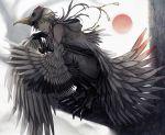 1boy abandon_ranka bird_mask bird_tail chains claws feathers hood in_tree japanese_clothes male_focus mask monster_boy smile squatting touken_ranbu tree tsurumaru_kuninaga white_hair wings yellow_eyes