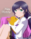 1girl absurdres bed birthday blush green_eyes highres looking_at_viewer love_live! love_live!_school_idol_project object_hug pajamas purple_hair remchi sitting sleepwear smile solo stuffed_fox stuffed_toy text toujou_nozomi