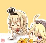 10s 2girls artist_name blonde_hair blue_eyes braid chibi crown cup dress eating flower french_braid hairband headgear highres iowa_(kantai_collection) kantai_collection logo long_hair long_sleeves looking_at_viewer mini_crown multiple_girls off-shoulder_dress off_shoulder pouring red_ribbon red_rose ribbon rose scone star star-shaped_pupils symbol-shaped_pupils taisa_(kari) tea_set teacup teapot warspite_(kantai_collection) white_dress yellow_background