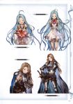 2girls absurdres armor armored_boots bare_shoulders belt blue_eyes blue_hair boots box bridal_gauntlets brown_hair cape catalina_(granblue_fantasy) closed_eyes collarbone dress earrings flower gauntlets gift gift_box granblue_fantasy hand_on_hip heart highres holding jewelry long_hair looking_at_viewer lyria_(granblue_fantasy) minaba_hideo multiple_belts multiple_girls one_eye_closed open_mouth red_eyes ribbon scan short_dress simple_background sleeveless sleeveless_dress smile sword valentine weapon white_dress