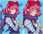 1girl bow closed_mouth glasses green_eyes hair_bow hairband large_bow lips long_sleeves looking_at_viewer magion02 no_glasses original overalls paper_airplane pink_hair purple_scarf red-framed_eyewear red_hairband red_lips scarf shirt short_hair striped striped_shirt upper_body variations