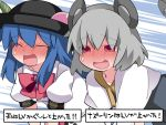 2girls ^_^ all_fours animal_ears blue_hair blush bow capelet closed_eyes commentary_request dress food fruit full-face_blush grey_dress grey_hair hammer_(sunset_beach) hat hinanawi_tenshi long_hair mouse_ears mouse_tail multiple_girls nazrin open_mouth peach red_eyes short_hair smile tail touhou translated