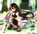 1girl :d black_hair black_legwear blush breasts brown_eyes character_request cleavage detached_sleeves flower forest full_body hair_between_eyes hair_flower hair_ornament holding holding_sword holding_weapon kneeling long_hair looking_at_viewer lord_of_vermilion_iii medium_breasts nature open_mouth red_legwear reverse_grip sandals smile socks solo sword tabi thigh-highs very_long_hair weapon wide_sleeves yue_(pixiv2547)