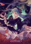 1girl floating_hair flower hatsune_miku highres long_hair maoshenzou nail_polish petals rose skirt_hold solo twintails vocaloid