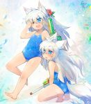 animal_ears blue_eyes chestnut_mouth child fang flower full_body hair_flower hair_ornament highres long_hair one-piece_swimsuit one_eye_closed open_mouth original school_swimsuit siblings signature squatting swimsuit tail toba_hiyoko twins water_gun white_hair wolf_ears wolf_tail