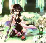 1girl :d black_hair black_legwear blush breasts brown_eyes character_request cleavage detached_sleeves flower forest full_body hair_between_eyes hair_flower hair_ornament holding holding_sword holding_weapon kneeling looking_at_viewer lord_of_vermilion_iii medium_breasts nature open_mouth red_legwear reverse_grip sandals short_hair smile socks solo sword tabi thigh-highs weapon wide_sleeves yue_(pixiv2547)