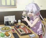 1girl ahoge bowl buttons casual chair chewing chopsticks crumbs cup curry drinking_glass eating eyebrows eyebrows_visible_through_hair fish food frills glass hair_ornament hair_scrunchie long_hair low-tied_long_hair menu_board pepper_shaker pink_shirt plate restaurant rice scrunchie senki_zesshou_symphogear shirt signature sitting sleeveless solo sushi table tonkatsu tray twintails tyuga very_long_hair violet_eyes white_hair yukine_chris