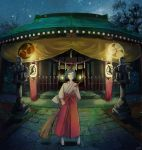 1girl animal_ears blue_hair broom cat_ears fake_animal_ears fantasy grey_eyes hairband highres holding holding_broom japanese_clothes looking_away looking_up miko night night_sky nurie_(siniariot) original sandals scenery short_hair shrine sky smile star_(sky) starry_sky thigh-highs white_legwear